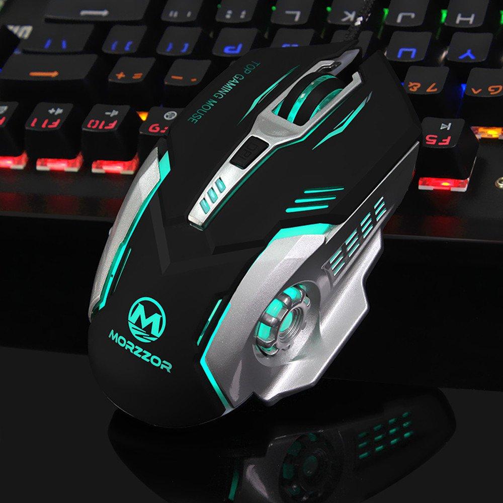 Mouse con cable para juegos de Rawdah, 3200 DPI, botones 6D, LED, para PC y Laptop: Amazon.es: Electrónica