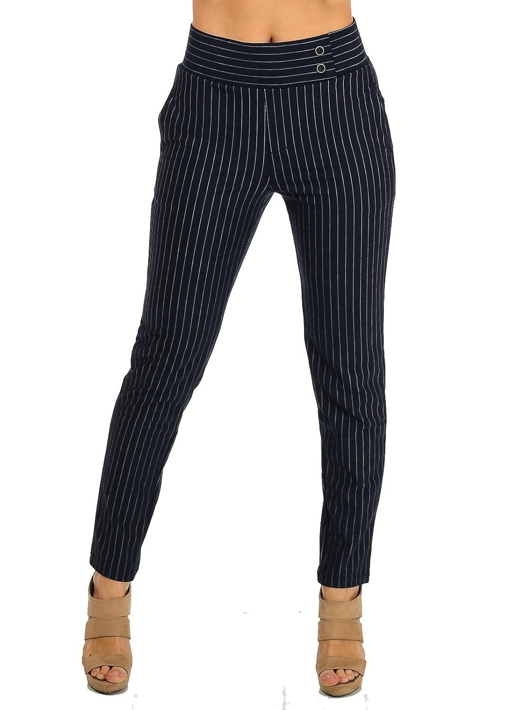 Women's Stretchy Stylish High Waist Pinstripe Stretchy Skinny Pants 10360W