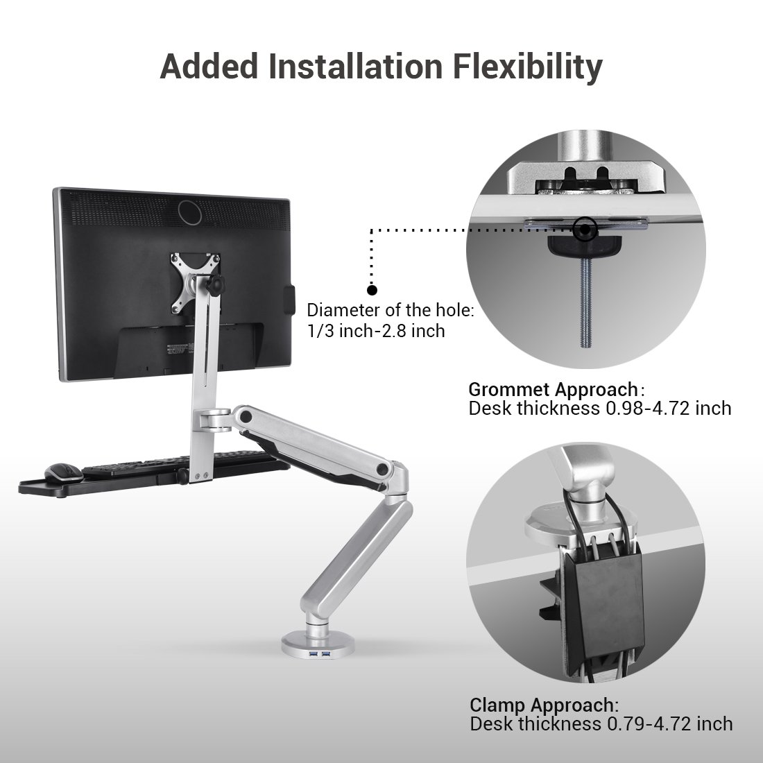 Loctek Height Adjustable S2m Sit Stand Mount Standing