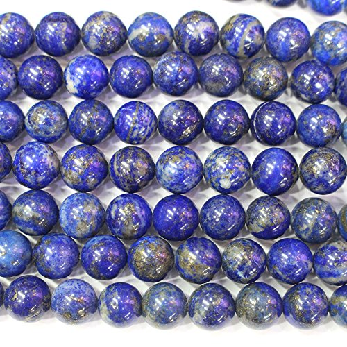 (Natural Color Genuine Blue Lapis Lazuli Real Gemstone Loose Beads for Necklace Jewelry Making (round 10mm ))