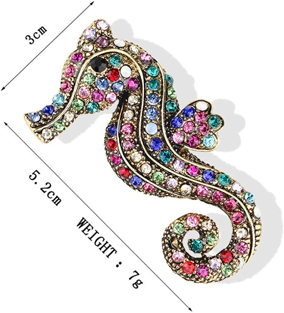 BJINUIY Scarf Pin Jewelry Coat or Bag Gift Tie Hat Vintage Colored Diamond-Studded Hippocampus for Scarf