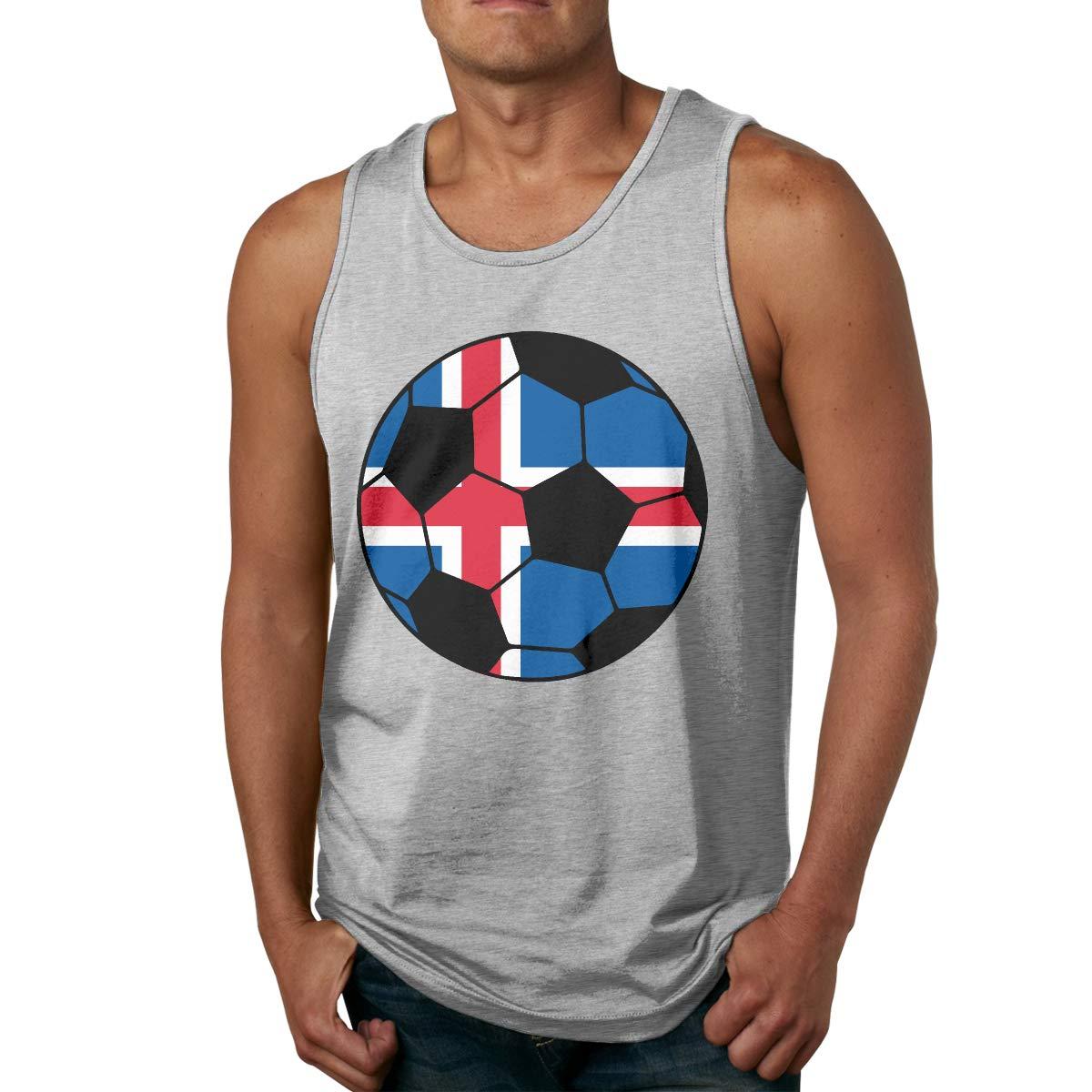 Men Tank Top Super Soft Iceland Soccer Flag 100/% Cotton Cami