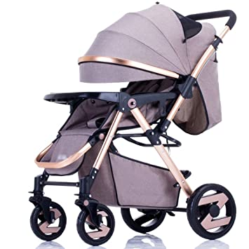 Sillas de paseo Cochecito para bebés Luz Paraguas Coche Cuatro ruedas Colisión Plegable Puede estar acostado