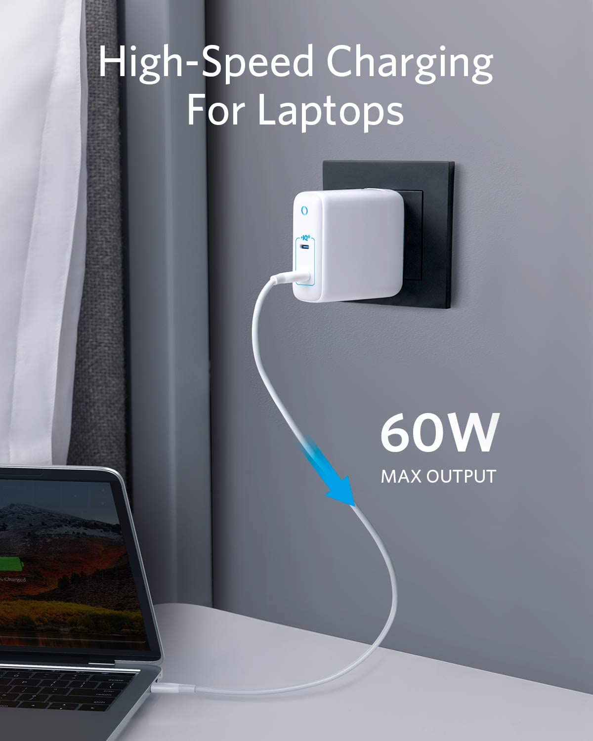 iPad Pro iPhone USB C Charger Galaxy and More Anker 60W GaN /& PIQ 3.0 2-Port Type-C Charger with Intelligent Power Allocation US//UK//EU Plug for Travel for MacBook PowerPort III 2-Port 60W