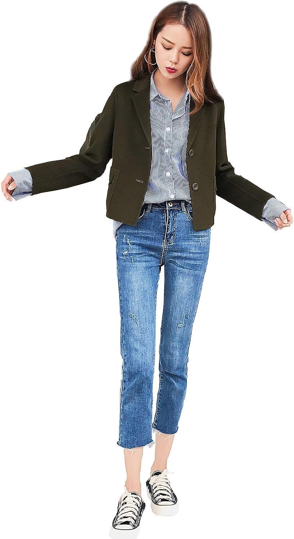 CG Womens Wool Jacket Single Breasted Overcoat Long Sleeve Elegant Wool Coat