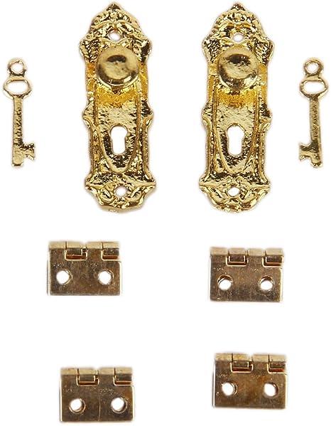 50 Pieces Retro Cabinet Closet Mini Hinge Dollhouse Wood Door Butt Hingers