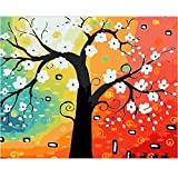 SUBERY DIY Oil Painting Paint by Number Kits for Adults Kids Beginner - A Bright Rich Tree 16x20 inches (Frameless)