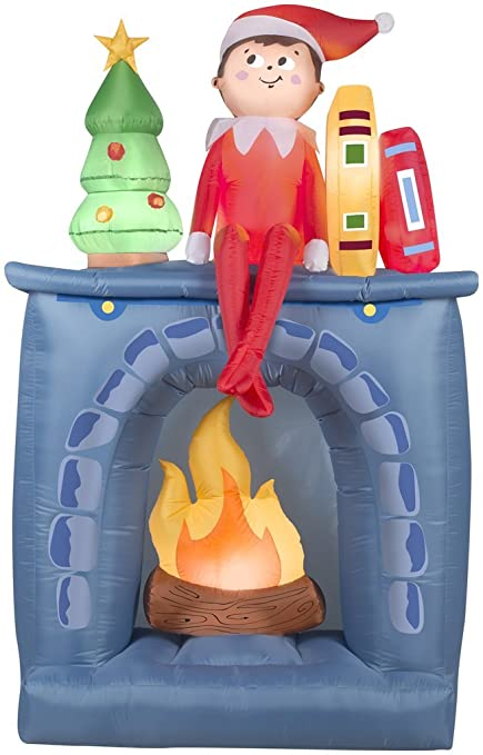 ftb 65 inflatable scout elf on a shelf on fireplace airblown christmas yard decor