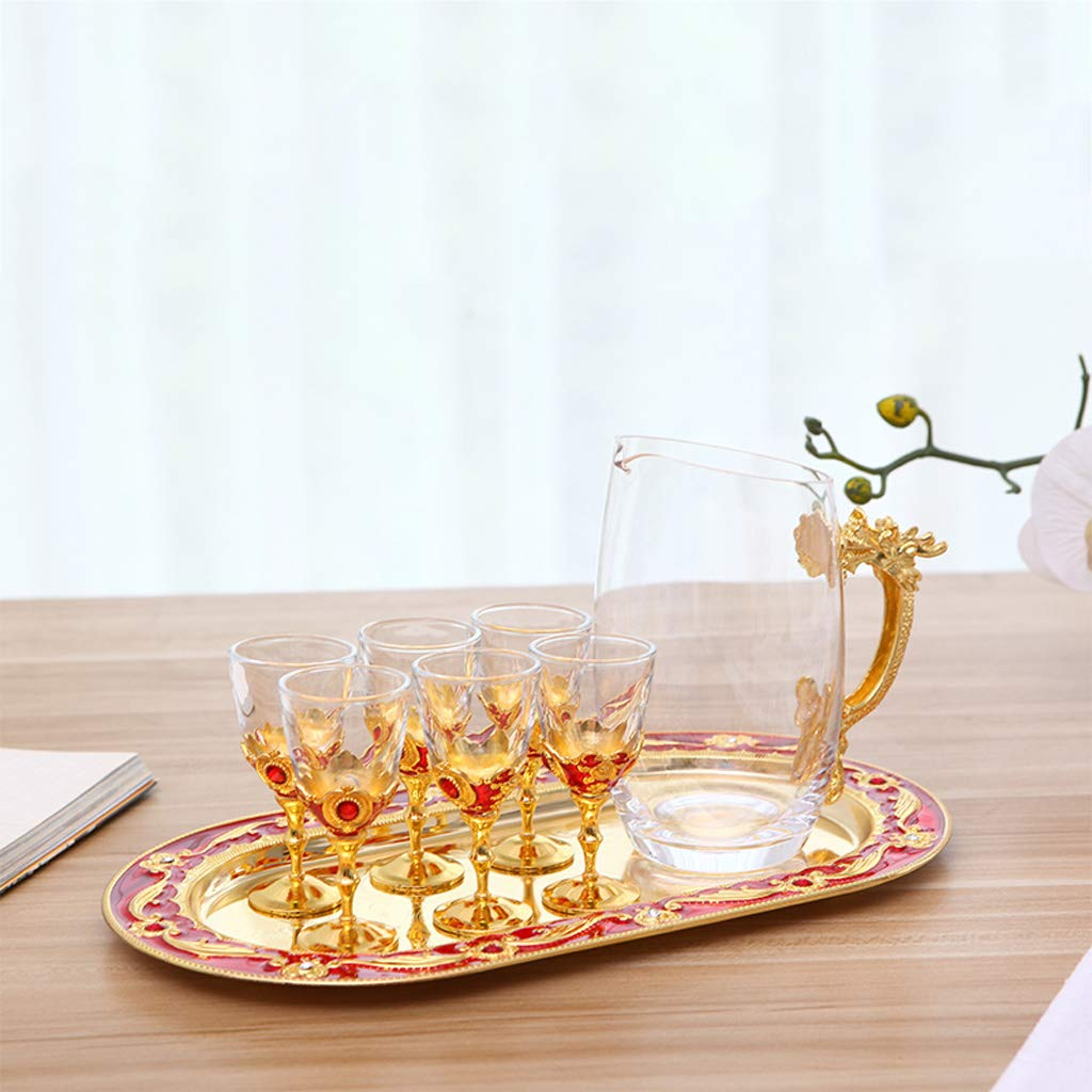 SLH ヨーロッパアンティークワインセット装飾ギフト飾り合金ガラスワインセットゴールデンレッド B07M5SF99L