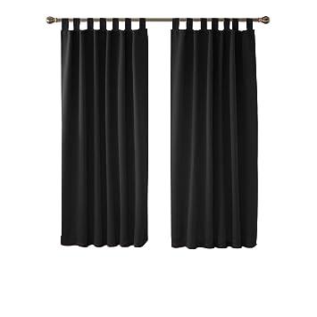 Deconovo Vorhang Blickdicht Schlaufen Gardinen Schlafzimmer Thermogardine  Schlaufen Schlaufenschal 175x140 cm Schwarz 2er Set