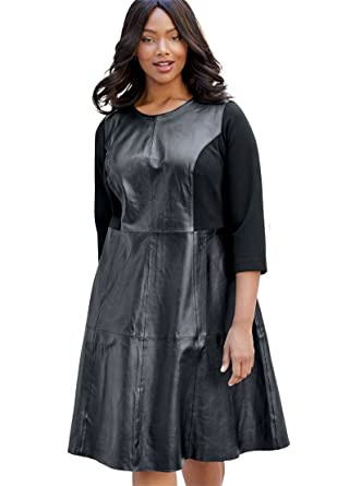 a34cb9ff419f5 Jessica London Women s Plus Size Leather Fit   Flare Dress with Three-Quarter  at Amazon Women s Clothing store
