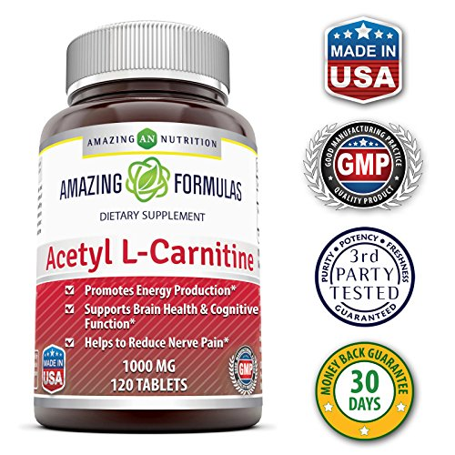 Amazing Formulas Acetyl L Carnitine Dietary Supplement 1000mg, 120 Tablets Per Bottle Promotes Energy Production, Supporting Brain Heath & Cognitive Function, Helps To Reduce Nerve Pain.