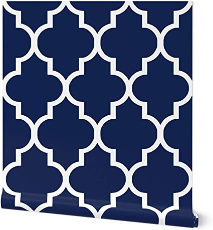 Removable Water-Activated Wallpaper Classic Decor Navy Quatrefoil Ogee White