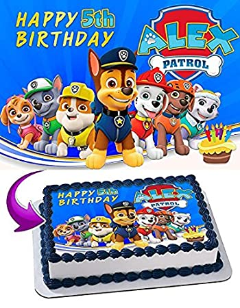 Paw Patrol Edible Cake Topper Personalized Birthday 1 2 Size Sheet Decoration Party Sugar