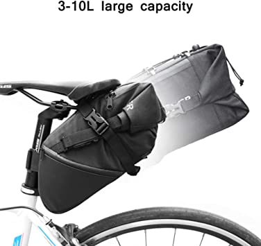 RockBros Bicycle Rear Seat Bag Pannier Bike Saddle Pouch Tail Storage Bag Black