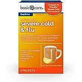Amazon Basic Care Severe Cold & Flu Relief, Green Tea & Honey Lemon Flavors; Relieves Cough, Sore Throat Pain, Body Ache, Hea