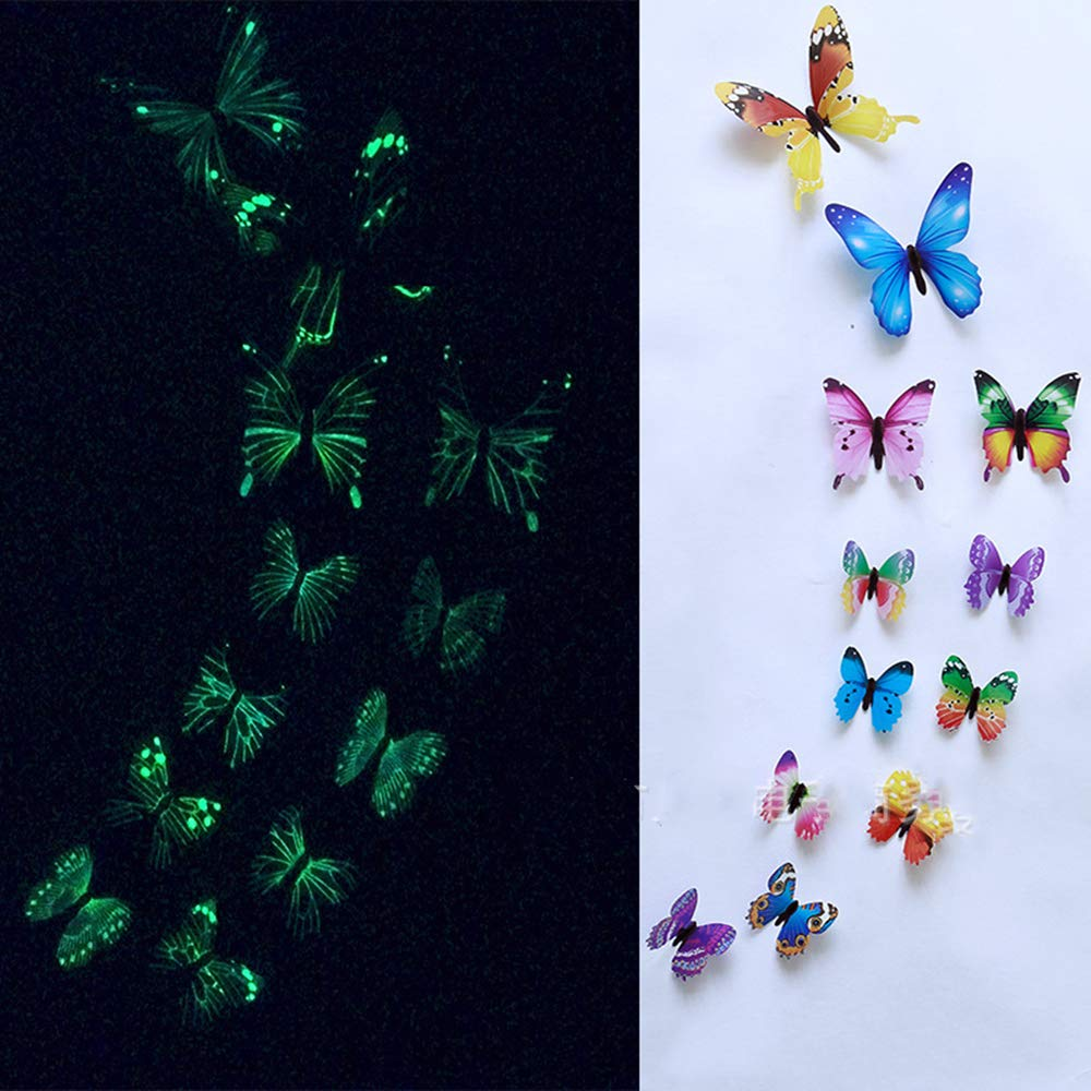 Mendom 36PCS Glowing Butterfly Wall Decals,3D Removable Luminous Butterfly Wall Stickers for Kids Home Room Nursery Decoration