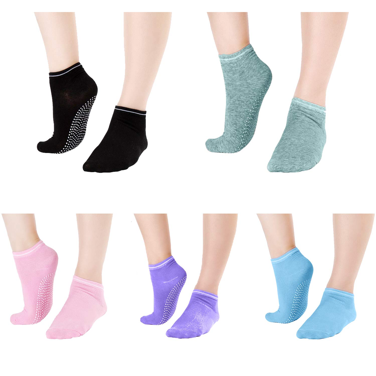 Non Skid Socks For Women - Elutong Grip Socks Barre 5 Pack Sticky Pilates Yoga Labor Exercise Sox by Elutong