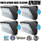 60W 6600lm LED Wall Pack Light,4Pack ,120-277V 5000K Daylight DLC cETLus-listed 2500-450W MH/HPS replacement, Outdoor/Entrance(5-Year Warranty)LPK 60W 4pk(5000K)