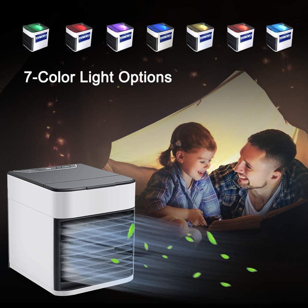 avec 3 Vitesses et 7 Couleurs de LED Lumi/ère de Nuit Climatiseur Mobile,Refroidisseur dAir 4 En 1,Mini Air Cooler//Humidificateur//Purificateur//Diffuseur dAr/ômes pour Maison//Bureau//Camping