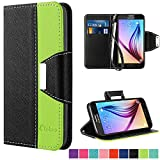 Galaxy S6 Case,Vakoo Samsung S6 Flip Cover Premium PU Leather Wallet Credit Card Holder Folio Stand Case for Samsung Galaxy S6 With a Wrist Strap – Black Green