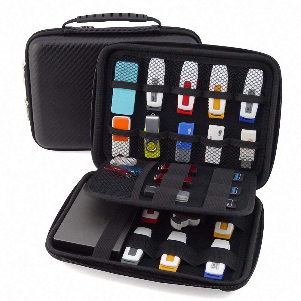 OPcFKV High Capacity Electronic Organizer Double Layer Electronic Accessories Organizer, for Travel Gadget Bag for Cables, USB Flash Drive, Plug and More by OPcFKV