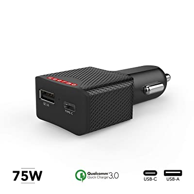 Gearmo GearMo 75W QC 3.0 & USB Type C Power Delivery (PD) Car Charger Works with: MacPro,Chromebook,Galaxy s8 s7 Edge Plus,Note 8,LG G6 G5 V20 V30,HTC 10,Pixel 2 XL,Nexus,iPhone 7,iPad.