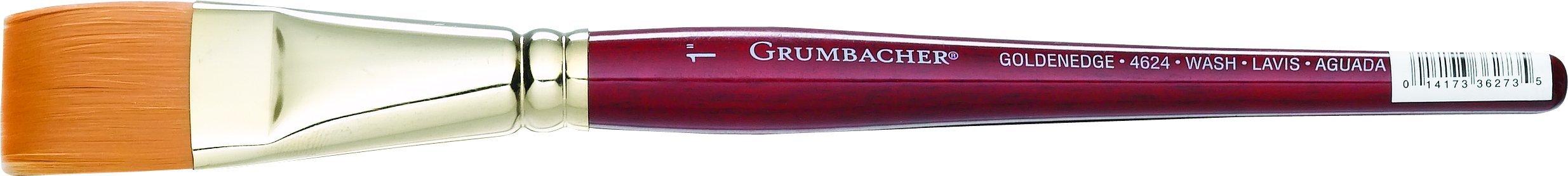 Grumbacher Goldenedge Golden Toray Wash Watercolor Brush, Synthetic Bristles, Size 1'' (4624.100)
