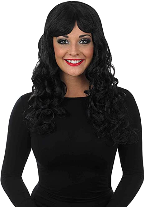 Straight Long Black Witch Wig Ladies Fancy Dress Halloween Costume Accessory New