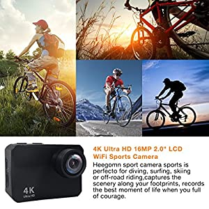"Action Camera, Heegomn 4K Ultra HD 60 Meters Waterproof Camera 16MP 2.0"" LCD WiFi Sports Camera with Sony Sensor and Free Mounting Accessories, Black"