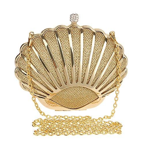 Yelesley Rhinestone Crystal Minaudiere Hard Mini Wedding Cocktail Mini Seashell Clutch Handbags(gold)