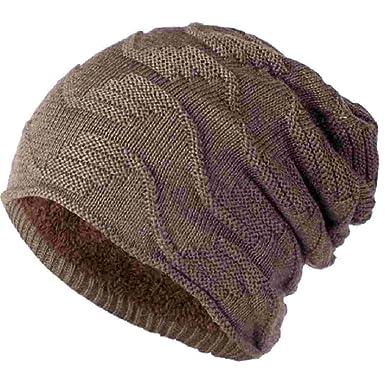ecaac6de79aa UMIPUBO Bonnet à Rayures Diagonales Automne et Hiver Chapeaux Mode Tricotés  Chaud Doublure en Polaire Hats