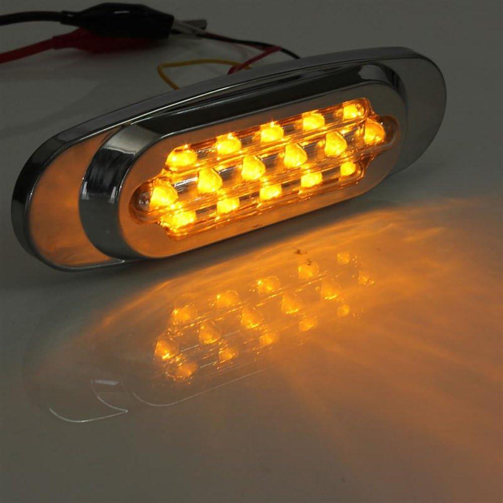 White HEHEMM 16 LED Car Trailer Truck Edge Side Marker Clearance Light Straight Bulb Warning Lamp 12V Pack of 2