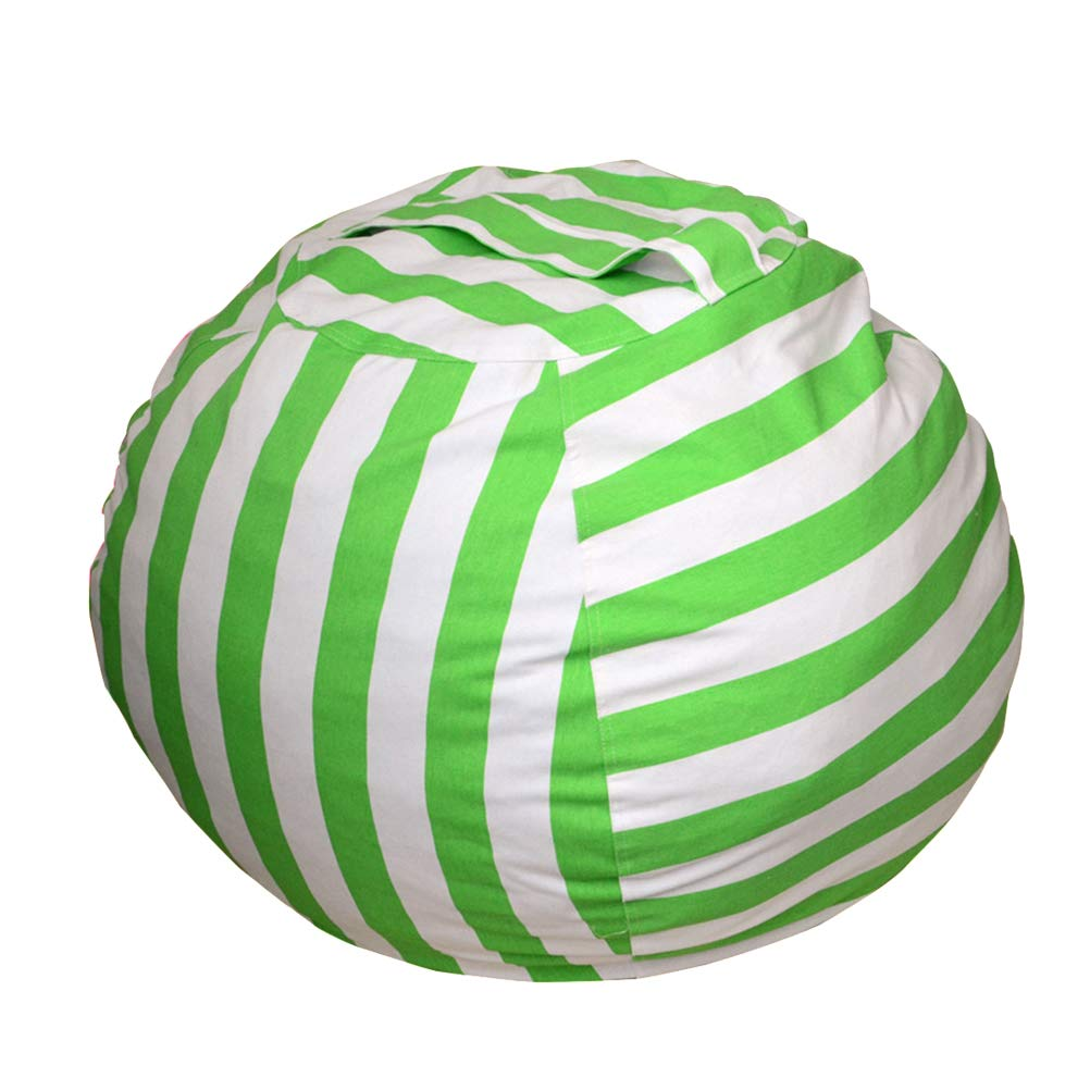 VORCOOL Kid's Stuffed Animal Storage Bean Bag Chair with Extra Long Zipper Carrying Handle Large Size (Green Stripe) by VORCOOL
