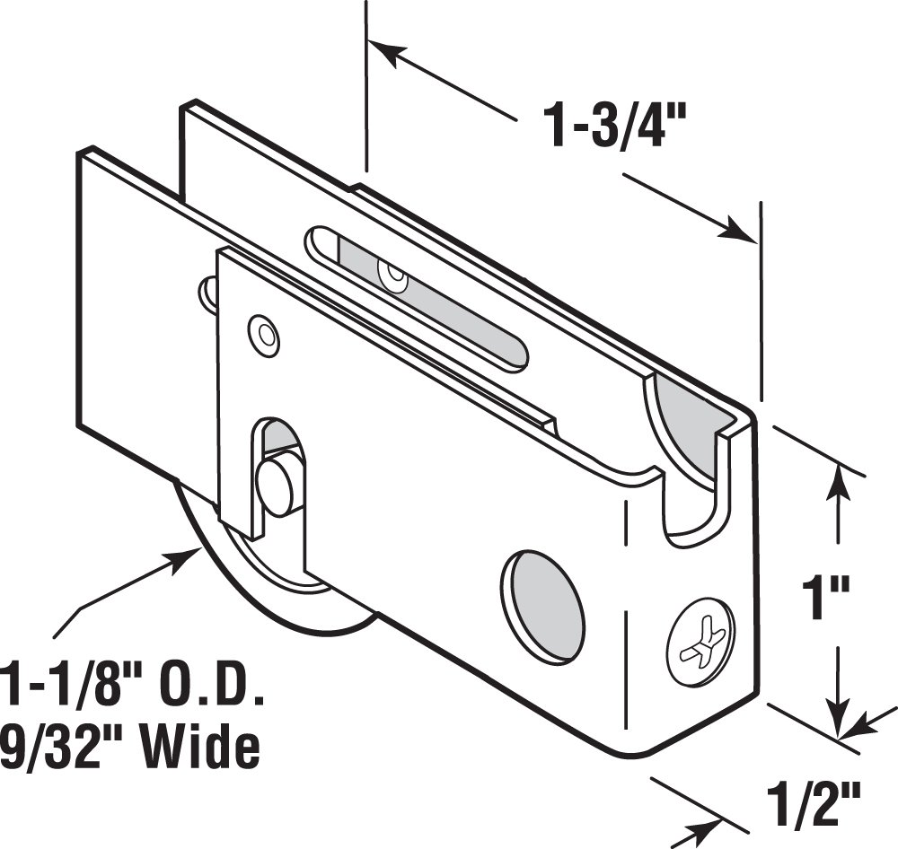 Prime-Line Products D 1758 Sliding Door Roller Assembly with 1-1//8-Inch Steel Ball Bearing