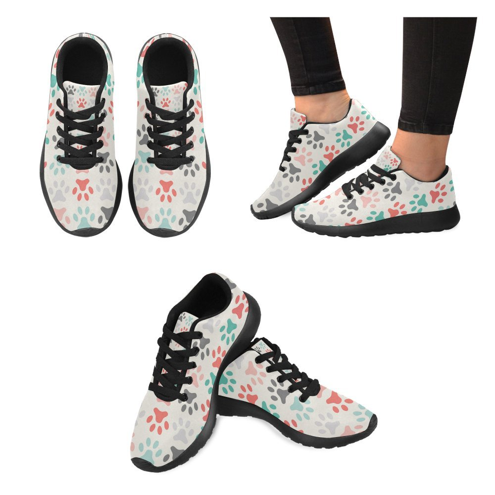 InterestPrint Colored Animals PAW Design Pattern Print On Womens Running Shoes Casual Lightweight Athletic Sneakers US Size 6-15 Black