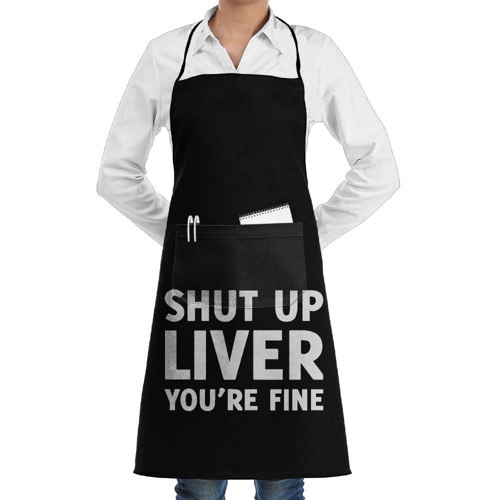 Mens Womens Overlock Apron Shut Up Liver You're Fine Professional Dacron Work Apron For Women