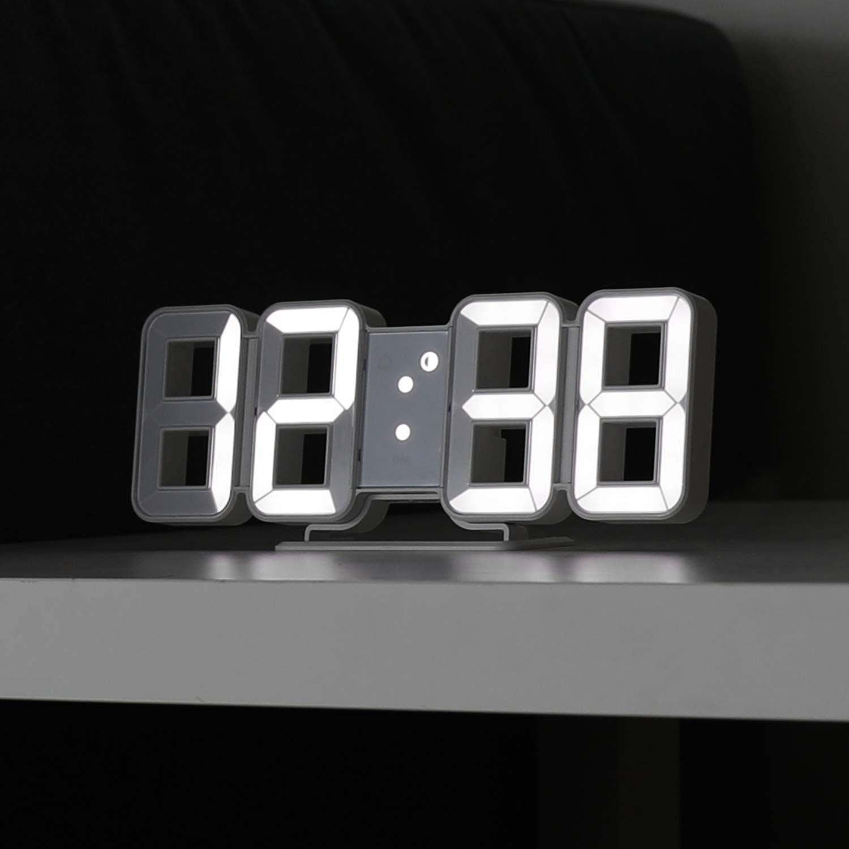 Mooas Pure Mini White 3D LED Clock, Multi-Function LED Clock (Calendar, Alarm, Temperature)