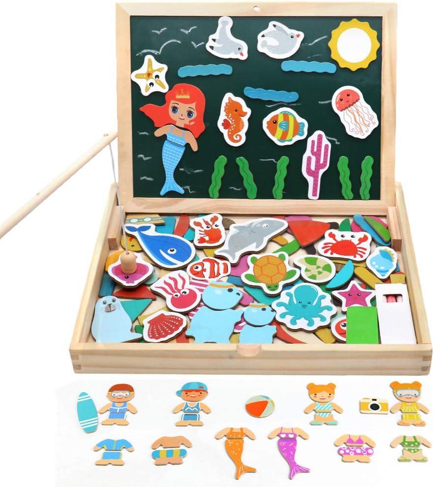 Juguetes de Madera Rompecabezas Magnéticos Juego de Pesca Magnética con Caña de Pesca Vestir a los Amigos para Niños 3 4 5 6