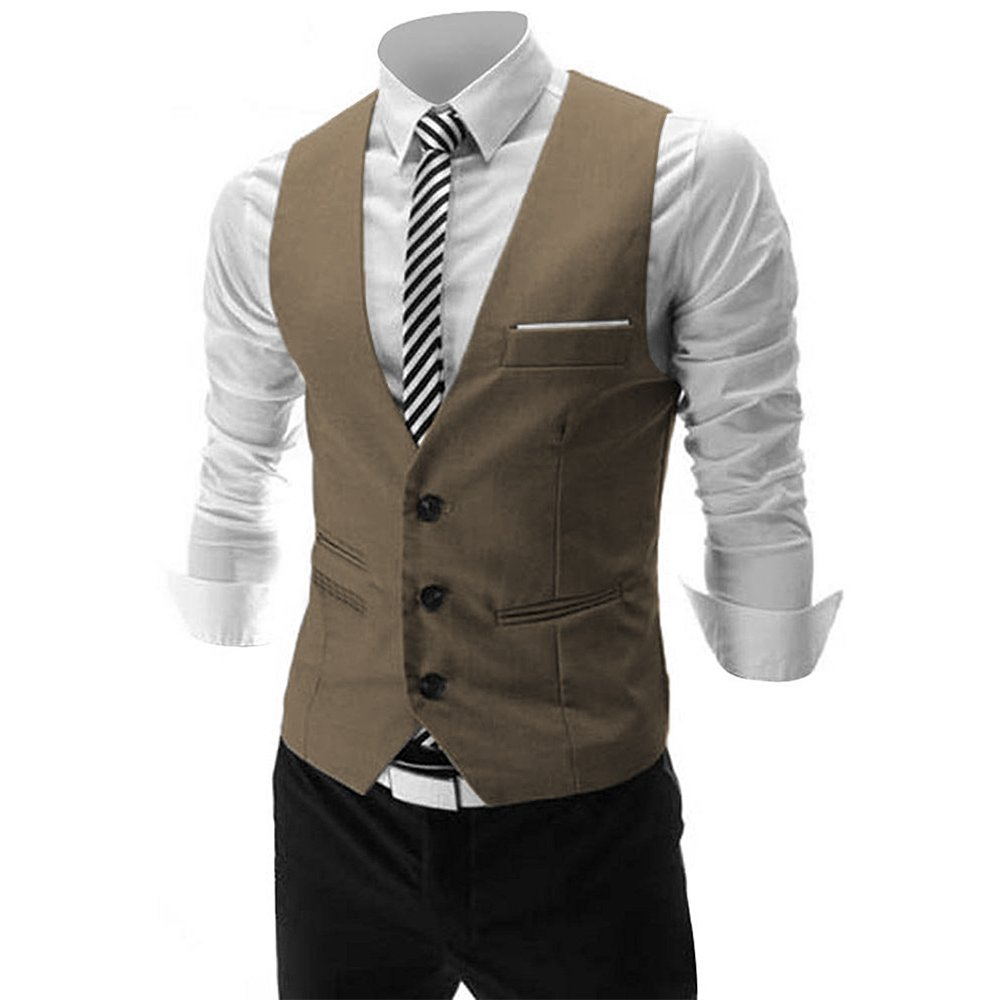MAGE MALE Men's Slim Fit Suit Vests V-Neck Formal Business Sleeveless Dress Suit Separate Waistcoat (L, Khaki)