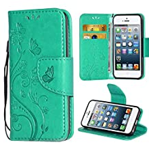 i-Dawn Premium Leather Wallet Flip Protective Case with Wristlet Lanyard and Kickstand for Apple iPhone 5/5S/SE Mint Green