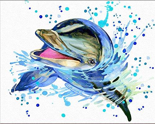 Dolphin Art - 7Dots Art. Baby Animals. Watercolor Art Print, Poster 8