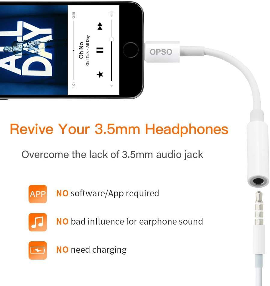 opso Adaptateur Jack, M/étal Adaptateur iPhone pour Apple Pris en Charge pour iphone XS//XR//8//X.iPad,iPod.3.5mm Adaptateur Jack Noir MFi Certifi/é