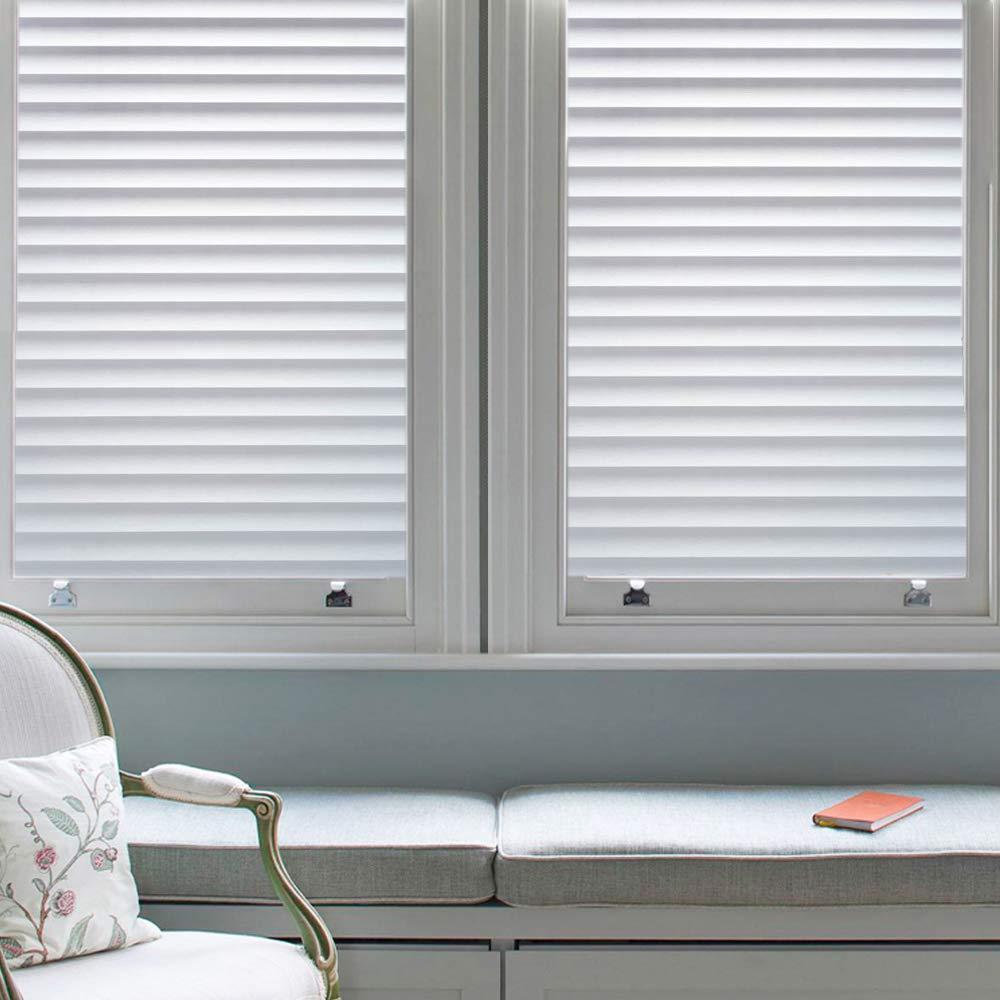 DUOFIRE Window Film Blinds Pattern Privacy Window Film Glass Film Static Cling Glass Film No Glue Anti-UV Window Sticker for Bathroom Bedroom Living Room DP040 (35.4 x 118 inch)