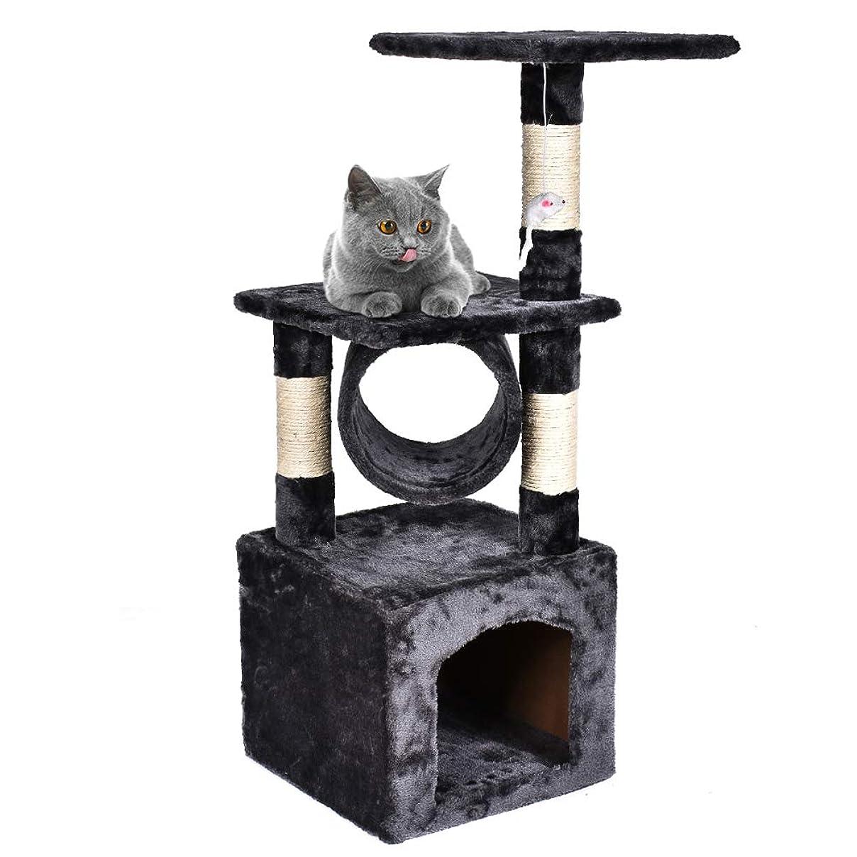 アクロバットボリュームショートカットFEANDREA キャットタワー 爪とぎ支柱 3ヶ所固定したハンモック ゆらゆら寝れる 子猫 おもちゃ 67cm NPCT68M