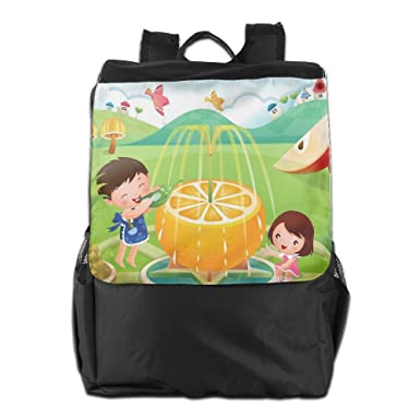 Kids Playing Multicolor Printed Girls Backpack Lightweight Casual Shoulder Bag  Boys School Bag Bookbags Daypacks Black 87dd29b7a4