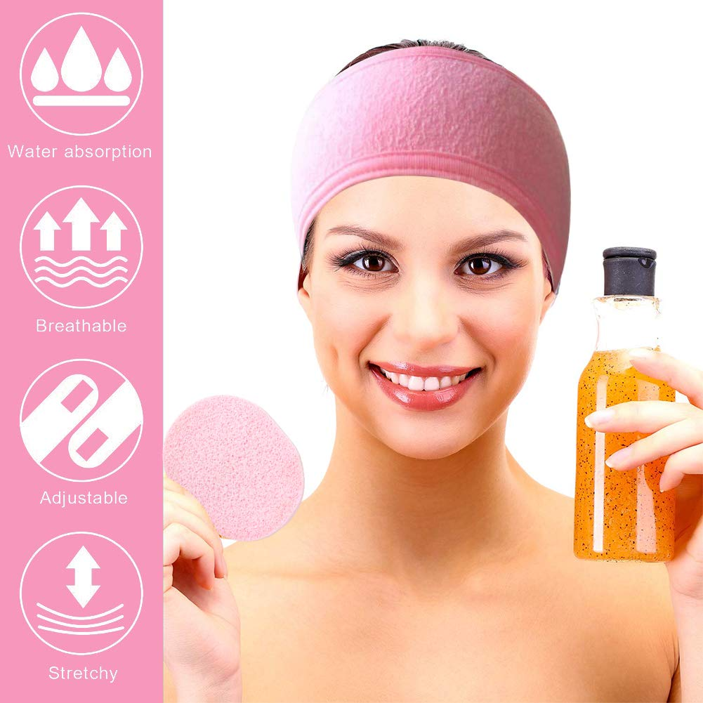 Shindel Spa Facial Headband, 6PCS Make Up Wrap Head Terry Cloth Winter Headband Adjustable Towel, with 3PCS Facial Sponges, Esthetician Supplies