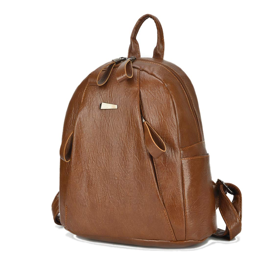 Artwell Women Backpack Purse PU Washed Leather Casual Ladies Rucksack Shoulder Bag with 2 Front Zipper Pocket (Brown)