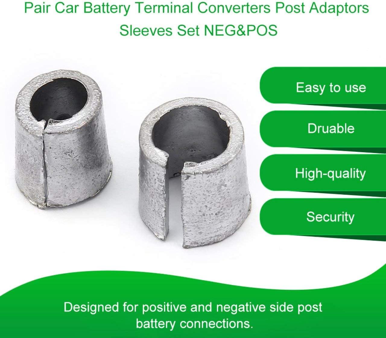 Pair Car Battery Terminal Converters Post Adaptors Sleeves Set Battery Post Adapters Sleeves 1 x NEG /& 1 x POS silver Jasnyfall