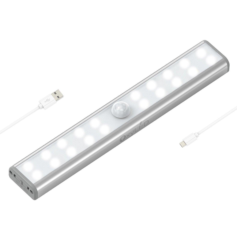 OXYLED Luce Notturna a 20 LED con Sensore, Luce Wireless, USB Ricaricabile, Barra di Luce con Sensore di Movimento, Luce Notte per Armadio,Comodino,Corridoio